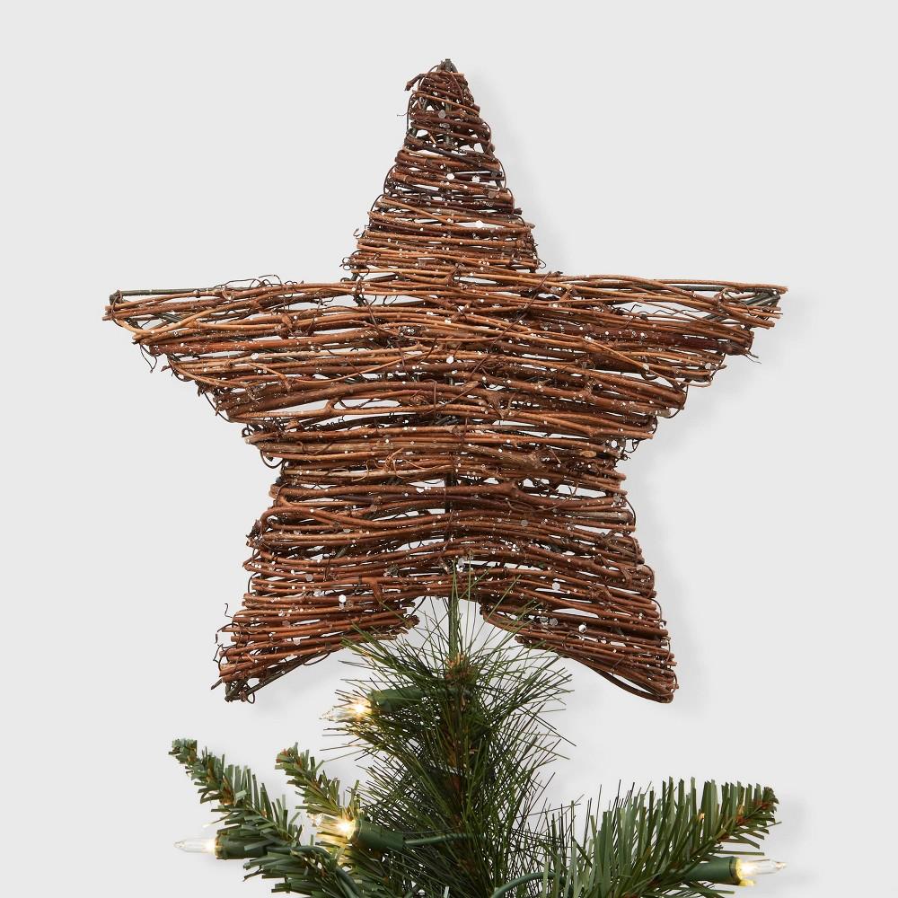 "Image of ""11.5"""" Unlit Grapevine Wrapped Star Tree Topper - Wondershop , Brown"""