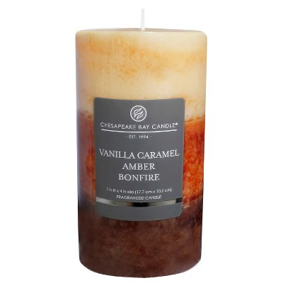 7  x 4  Layered Pillar Candle Vanilla Caramel/Amber/Bonfire - Chesapeake Bay Candle