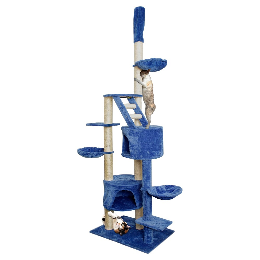 Paws & Pals Cat Scratch Tree Condo Furniture 101\ - Blue and White