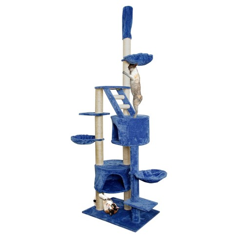 "Paws & Pals Cat Scratch Tree Condo Furniture 101"" -<br> Blue and White - image 1 of 5"