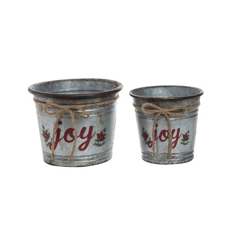 Transpac Metal 9 in. Silver Christmas Galvanized Joy Containers Set of 2 - image 1 of 1