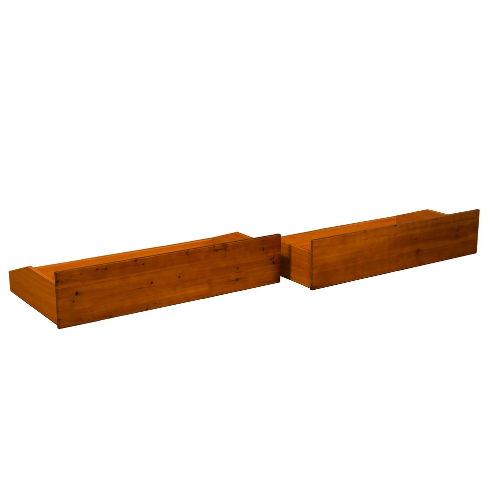 Image of Gibraltar All Wood Roll On The Floor Drawer Pair - Epic Furnishings, Size: Queen/King, Medium Brown