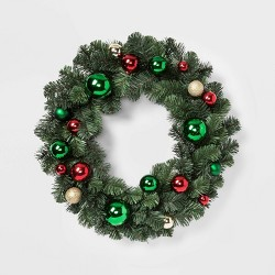 "24"" Artificial Christmas Pine Wreath with Ornaments Red Green and Gold - Wondershop™"