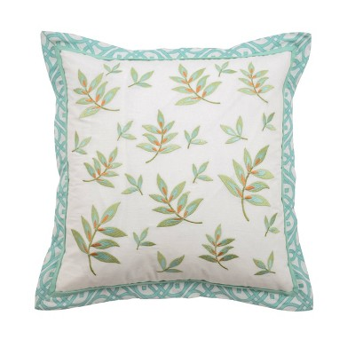 """Teal Floral Modern Poetic Square Throw Pillow (16x16"""") - Waverly"""