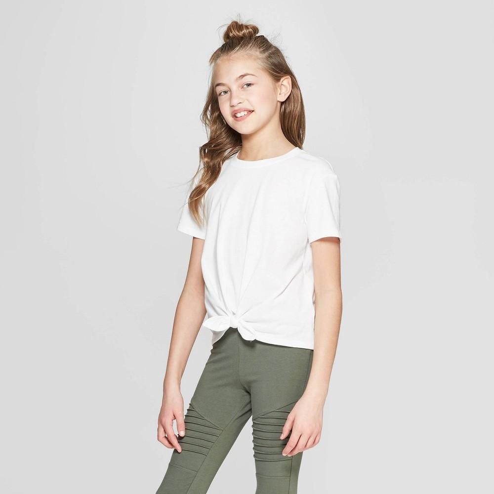 Girls' Short Sleeve Tie Front T-Shirt - art class White L