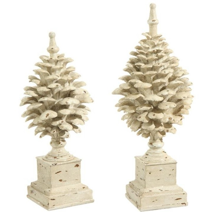 """Raz Imports Set of 2 Country Cabin Rustic Glittered Off White Pine Cone Finial Table Top Decorations 15.75"""" - image 1 of 1"""