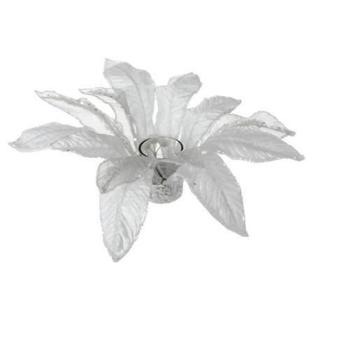 "Raz 13"" Poinsettia with Glitter Christmas Votive Candle Holder - White - image 1 of 1"