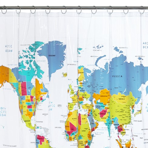 World Map Shower Curtain White/Blue/Yellow   Saturday Knight Ltd
