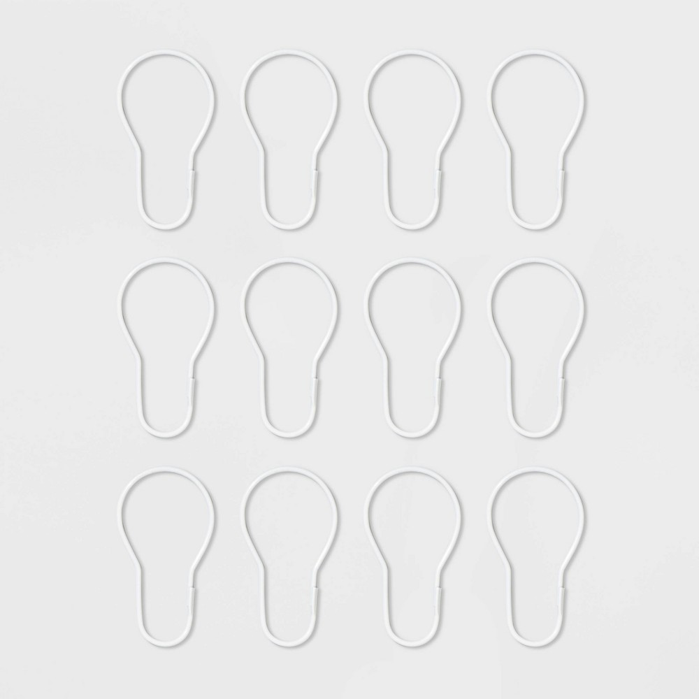 Image of Basic Shower Curtain Hooks With Clasp White - Room Essentials