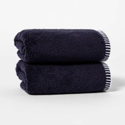 2pk Whip Stitch Border Hand Towel Set Navy - Threshold™