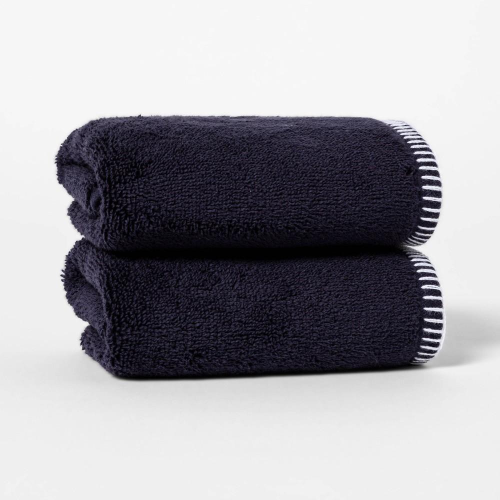2pk Whip Stitch Border Hand Towel Set Navy Threshold 8482