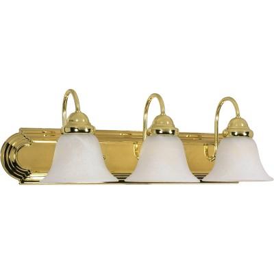 3 Light Bath Sconce with Alabaster Glass Polished Brass - Aurora Lighting