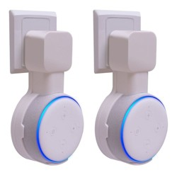 For Amazon Echo Dot 3rd Gen Wall Mount (1 / 2 Pack) Smart Home Speaker Alexa Accessories Outlet Hanger Holder Hide Messy Wires, White by Insten