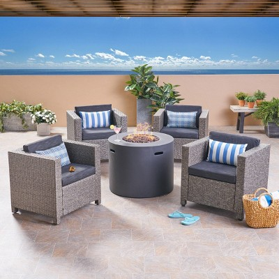Nolan 5pc Wicker Club Chair and Round Fire Pit Set - Mixed Black/Dark Gray - Christopher Knight Home