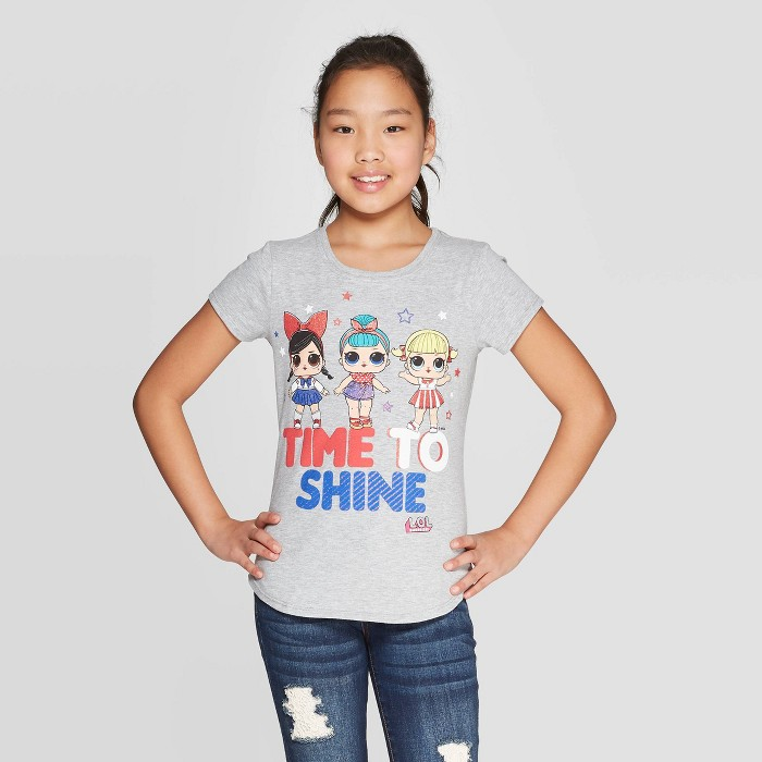 "Girls' L.O.L. Surprise! ""Time To Shine"" Short Sleeve T-Shirt - Gray - image 1 of 3"