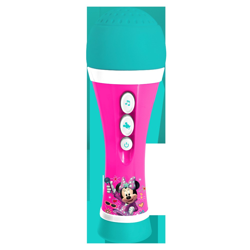First Act Licensed Microphone - Minnie's Happy Helpers The handheld, battery-operated mic with built in speaker, lets you take your show anywhere! Press the button for a cheering sound effect! Gender: Unisex.