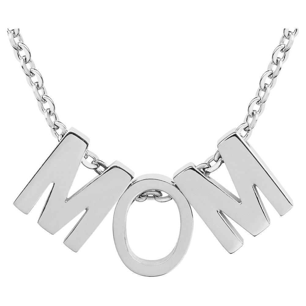 Elya Stainless Steel 'mom' Pendant Necklace, Girl's, Light Silver