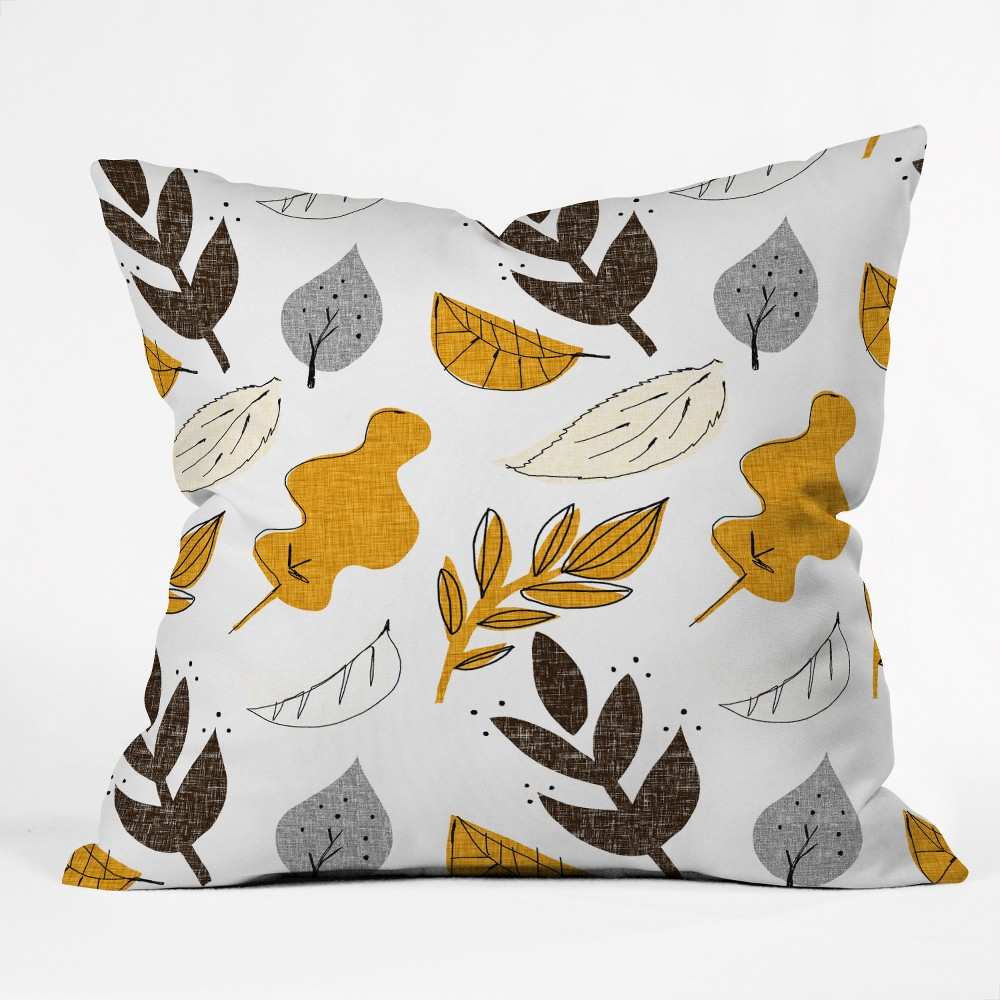 Mummysam Fall Leaves Oversize Square Throw Pillow Light Gold - Deny Designs