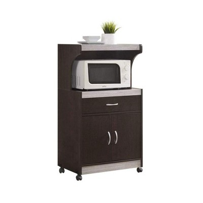 Hodedah Wheeled Kitchen Island Microwave Cart with Pull-Out Drawer and Cabinet Storage, Chocolate Grey