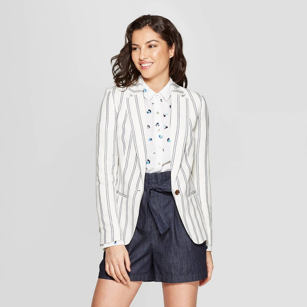Women's Long Sleeve Striped Blazer - A New Day White/Blue 16