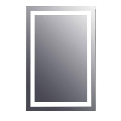 """24"""" Rectangular Frameless Lighted LED Bathroom Mirror with Anti Fog - Tosca"""