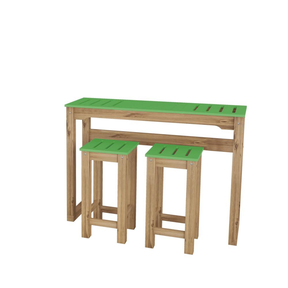 47.3 3pc Stillwell Natural Wood Bar Kitchen Set Green - Manhattan Comfort