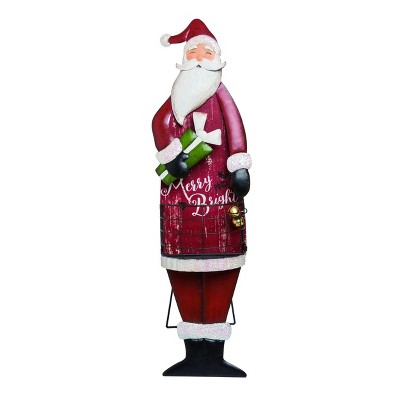 Transpac Metal 24 in. Red Christmas Holiday Basket with Easel Decor