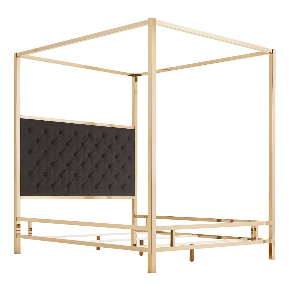 Queen Manhattan Champagne Gold Canopy Bed with Diamond Tufted Headboard Charcoal (Grey) - Inspire Q