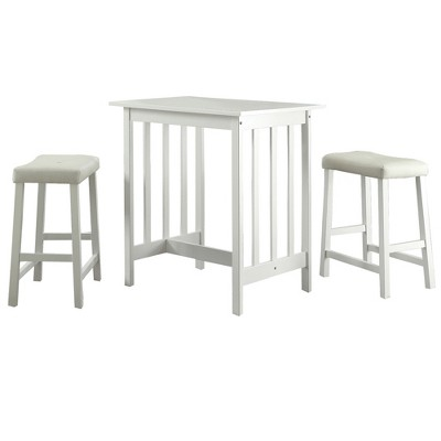 3 Piece Hahn Breakfast Table Set Wood/White - Homelegance