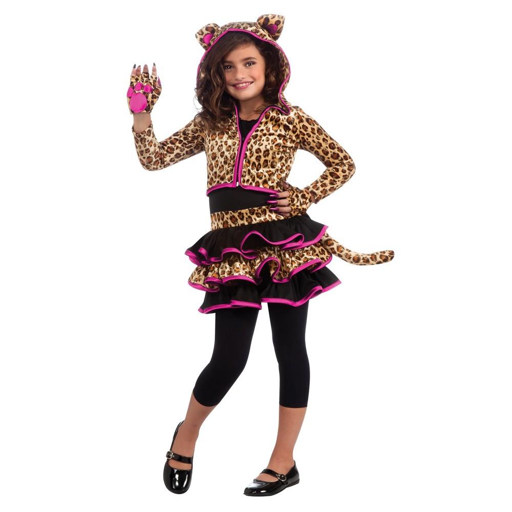 Girls' Leopard Hoodie Halloween Costume M, Multicolored