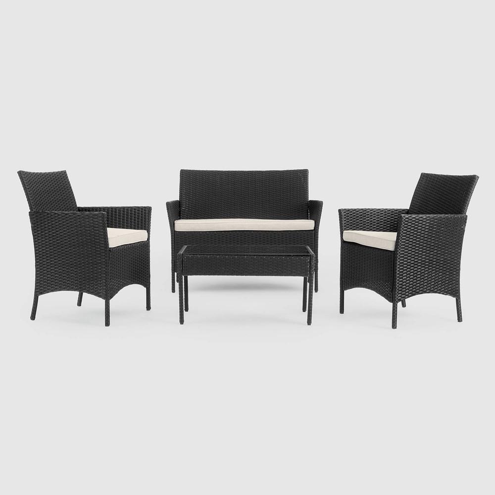 Image of Kenab 4pc Patio Seating Set - Black - Sego Lily