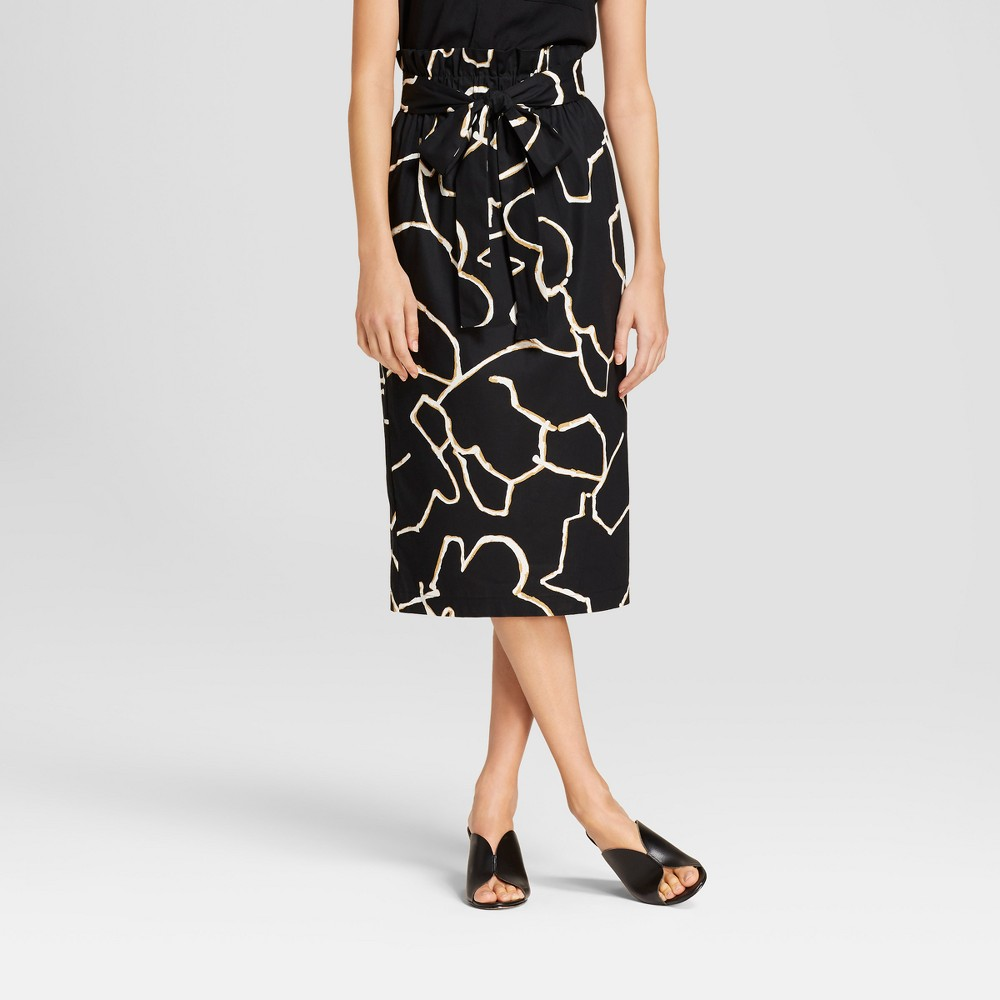 Women's Belted Paperbag Skirt - Who What Wear Black Print Xxl