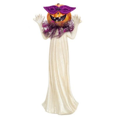 "Melrose 13"" Glittered Jack-o-Lantern with Mask Halloween Pumpkin Ghost Figure - White/Purple"