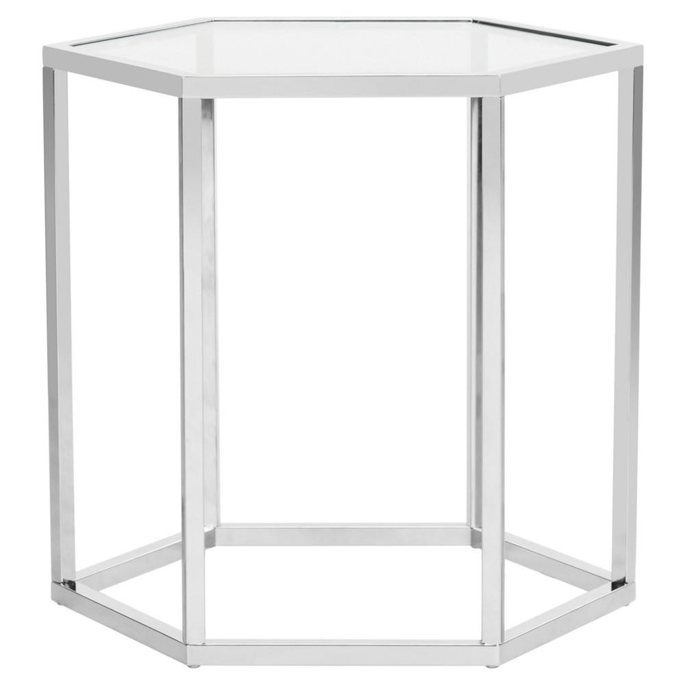 Teagan Glass End Table Chrome (Grey) - Safavieh