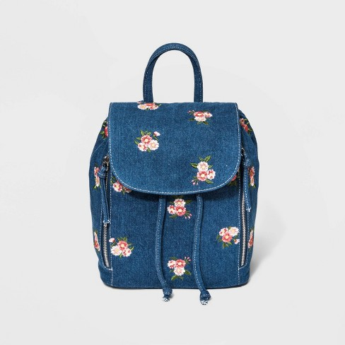 eb61c5e7d2751 Floral Denim Mini Backpack - Wild Fable™ Blue   Target