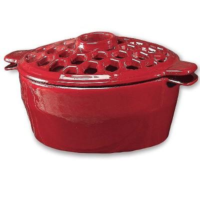 Plow & Hearth - 1.5 Quart Cast Iron Lattice Wood Stove Steamer Kettle / Humidifier