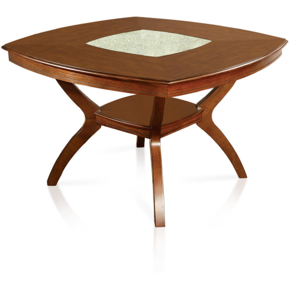Langstrum Glass Top Insert Rounded Square Dining Table w/Bottom Shelf Oak - ioHOMES, Brown