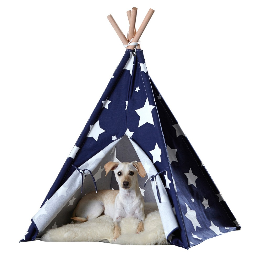Dogs Teepee - Blue with White Stars- Medium, Blue And White Star
