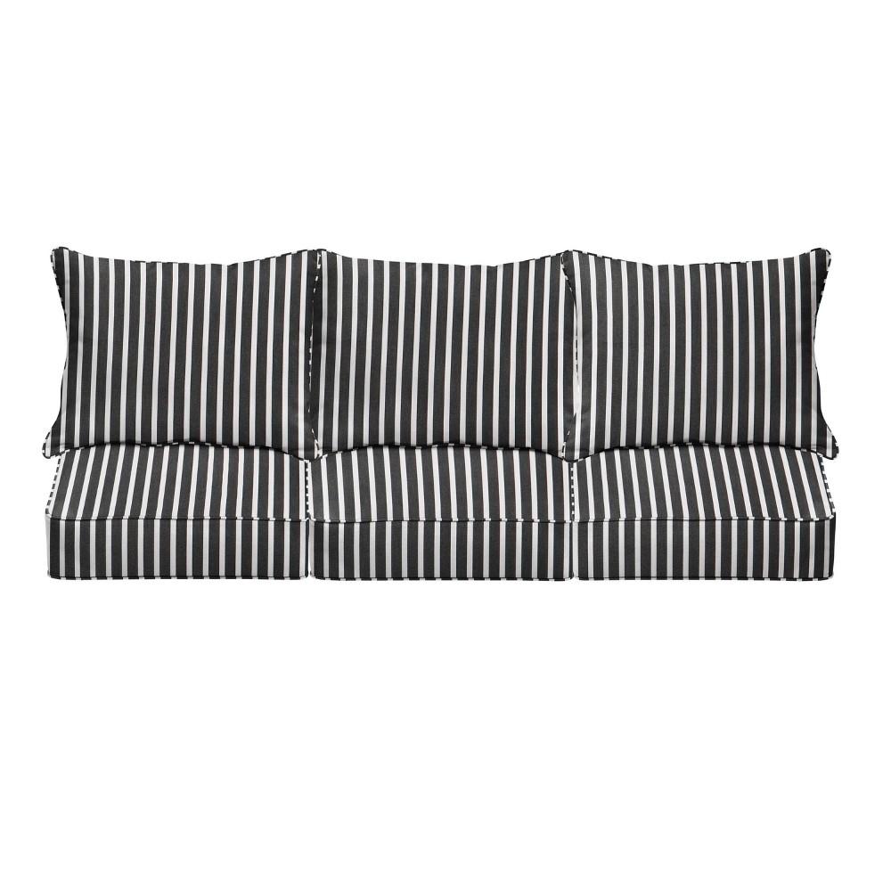 23 34 Sunbrella Stripe Deep Seat Outdoor Throw Pillow And Cushion Set Black White