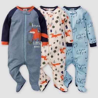 Gerber Baby Boys' 3pk Fox Sleep N' Play - Off-White/Blue Newborn