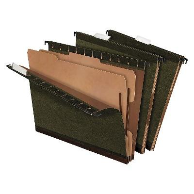 Pendaflex SureHook Reinforced Hanging File Folders, 2 Dividers, Letter, Standard Green, 10/Box
