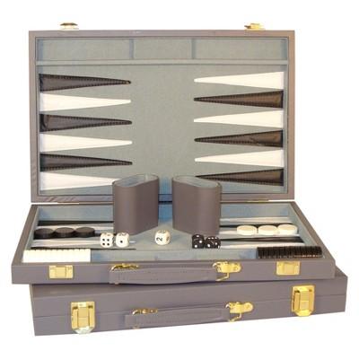 "WorldWise Imports 15"" Gray Vinyl Backgammon Set Game"