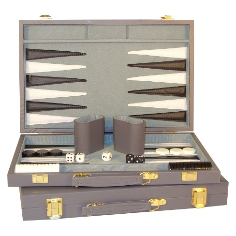 "WorldWise Imports 15"" Gray Vinyl Backgammon Set Game - image 1 of 3"