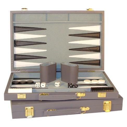 """WorldWise Imports 15"""" Gray Vinyl Backgammon Set Game - image 1 of 3"""