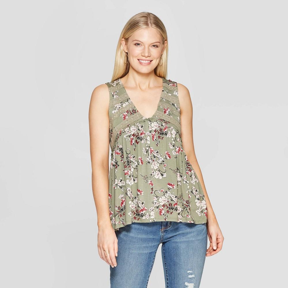 Women's Floral Print Sleeveless V-Neck Tank Top - Knox Rose Green Xxl