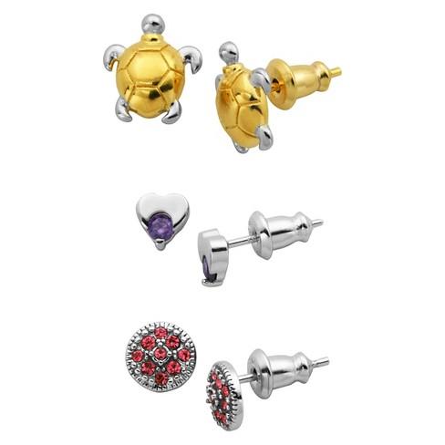 Children's 3 Piece Turtle & Heart Stud Earring Set - image 1 of 4