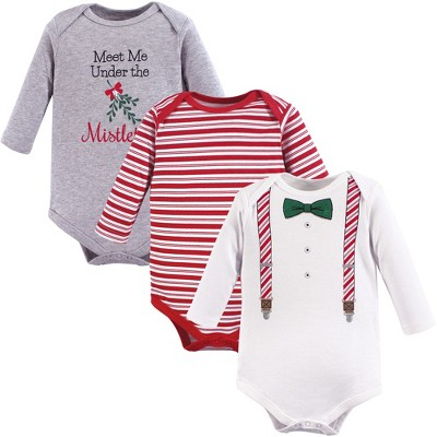 Little Treasure Baby Girl Cotton Long-Sleeve Bodysuits 3pk, Christmas Suspenders