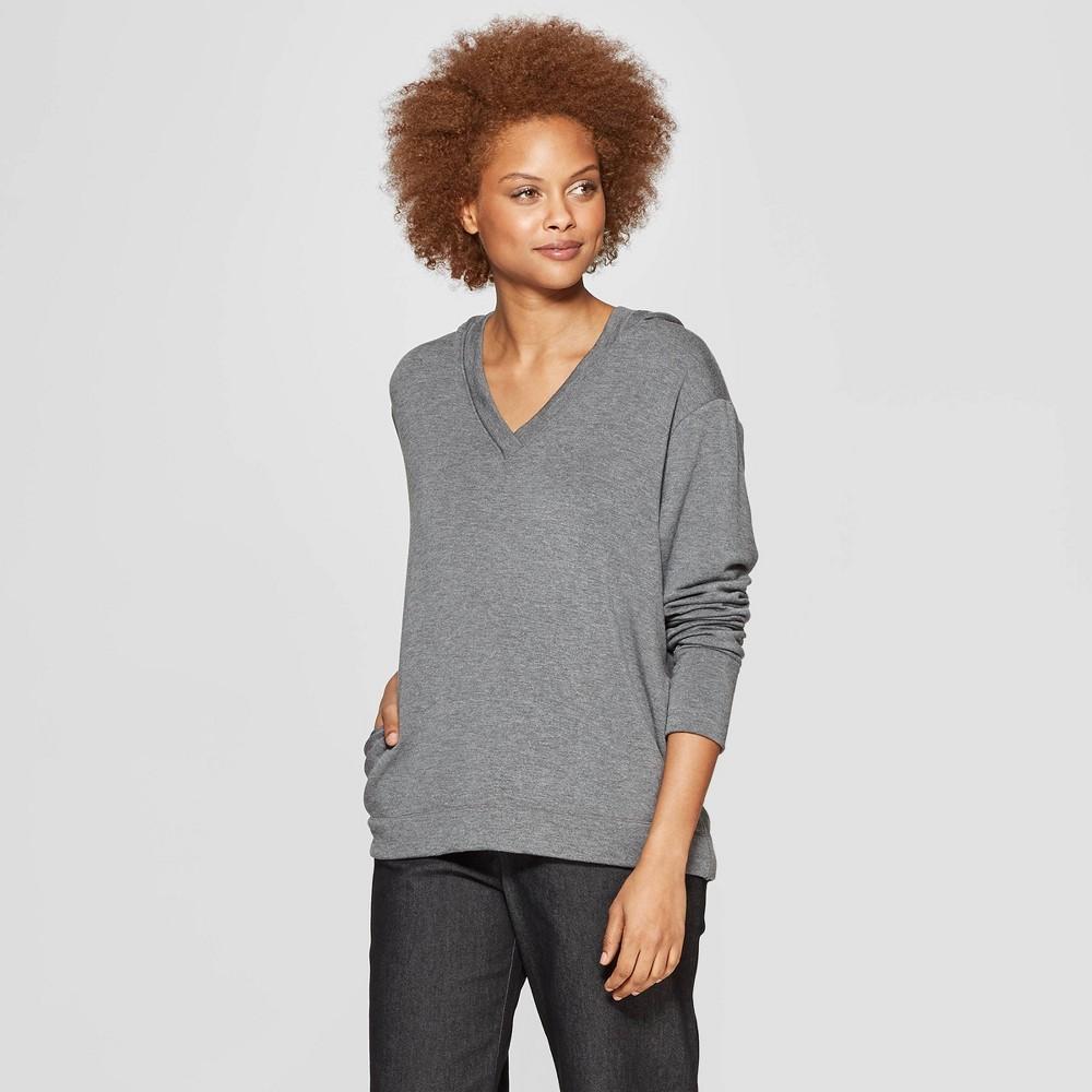 Women's Long Sleeve V-Neck Hooded Sweatshirt - Prologue Gray Xxl