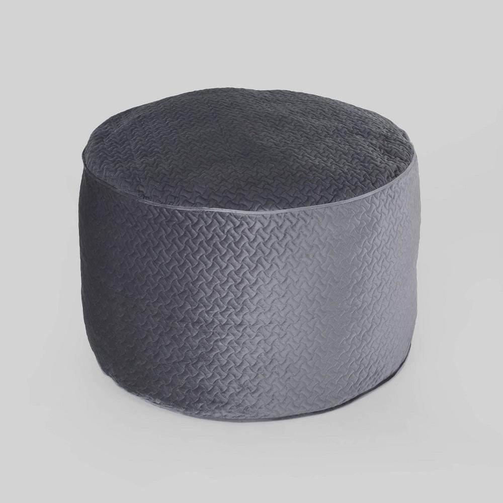 Image of 4'' Arnside Glam Velvet Quilt Patterned Beanbag Charcoal - Christopher Knight Home, Grey