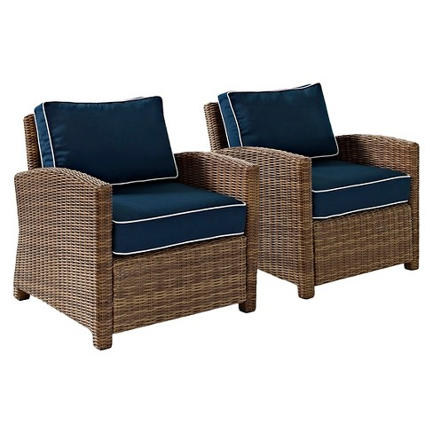 Crosley Bradenton 2 Piece Outdoor Wicker Seating Set with Navy Cushions - image 1 of 7